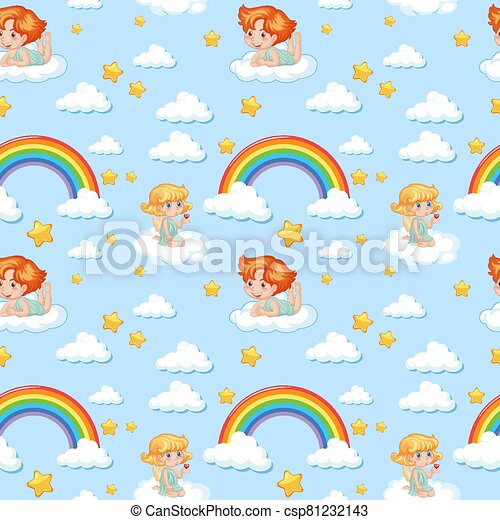 Seamless cute angel with rainbow and star pattern - csp81232143