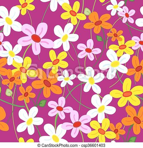 Seamless cute flower pattern - csp36601403