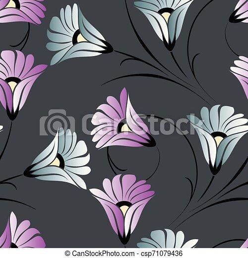 Seamless cute vector flower pattern - csp71079436