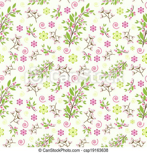 seamless, díszítés, virágos - csp19163638