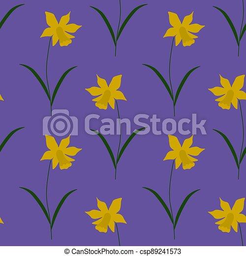 Seamless daffodil pattern - csp89241573