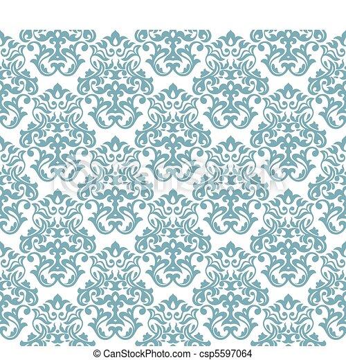 seamless damask background - csp5597064