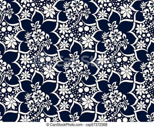 Seamless damask vector wallpaper - csp57372368