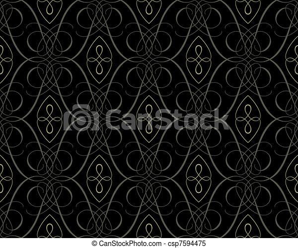 seamless damask wallpaper backgroun - csp7594475
