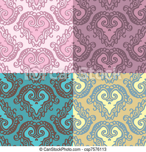 seamless damask wallpaper backgroun - csp7576113