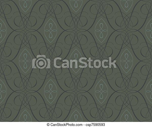 seamless damask wallpaper backgroun - csp7590593
