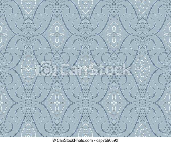 seamless damask wallpaper backgroun - csp7590592