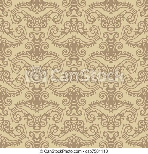seamless damask wallpaper backgroun - csp7581110