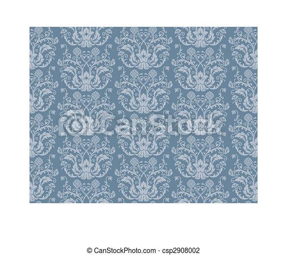 Seamless Damask Wallpaper Floral Blue Vector
