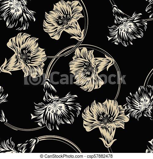 Seamless dark vector flower wallpaper - csp57882478