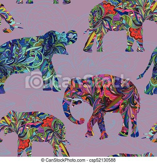 Seamless decorative pattern with elephants - csp52130588