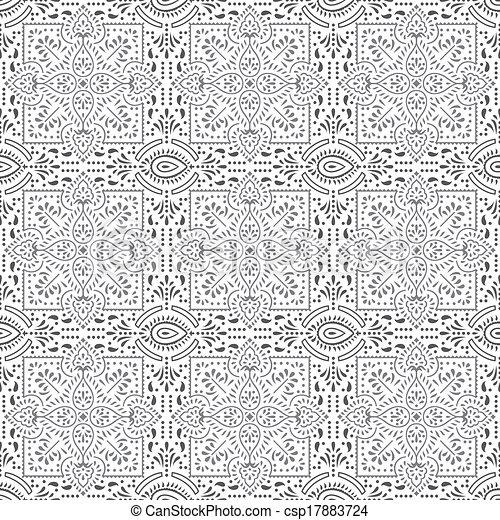 Seamless designer floral pattern - csp17883724