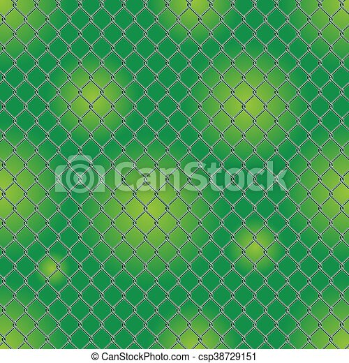 chain link fence texture. Seamless Detailed Chain Link Fence Pattern Texture With Garden Background.  - Csp38729151