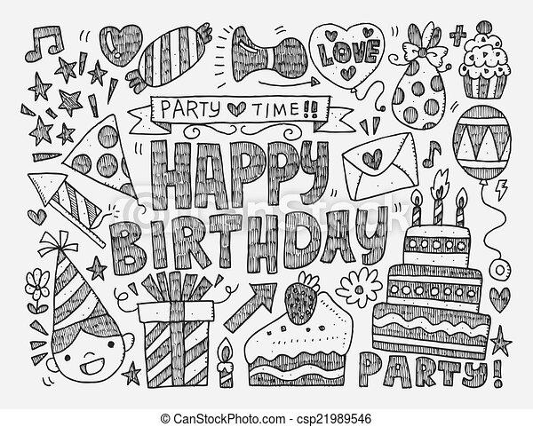 Seamless Doodle Birthday party patt - csp21989546