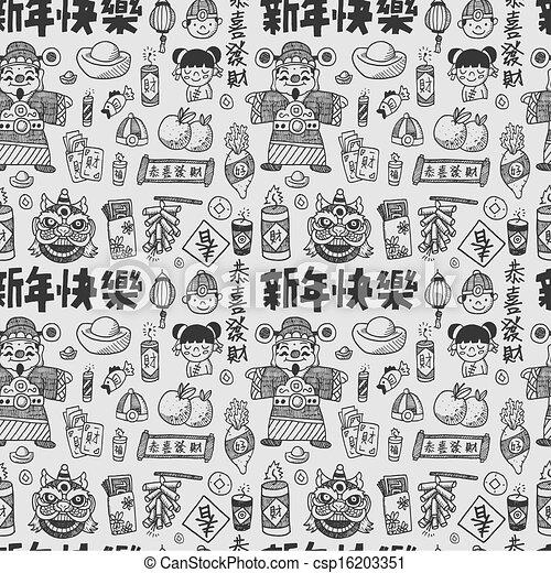 Seamless doodle chinese new year pattern background,chinese word ...