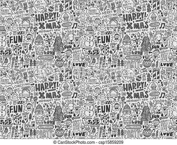 Seamless Doodle Christmas pattern - csp15859209