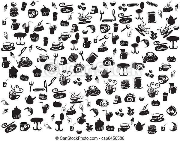 seamless doodle coffee and tea patterns - csp6456586