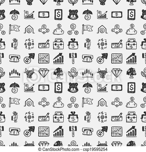 seamless doodle financial pattern - csp19595254