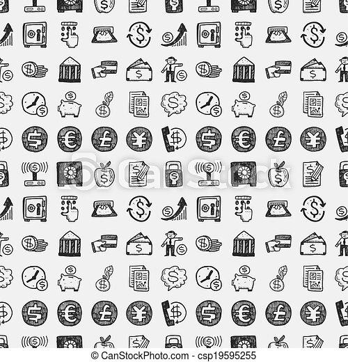 seamless doodle financial pattern - csp19595255