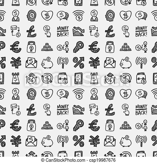 seamless doodle financial pattern - csp19987676