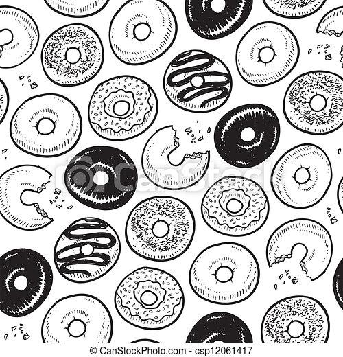 Seamless doughnut background - csp12061417