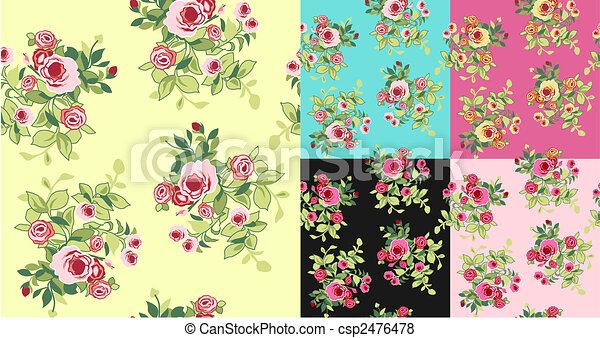 seamless fancy flower pattern - csp2476478