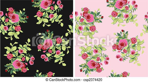 seamless fancy flower pattern - csp2374420