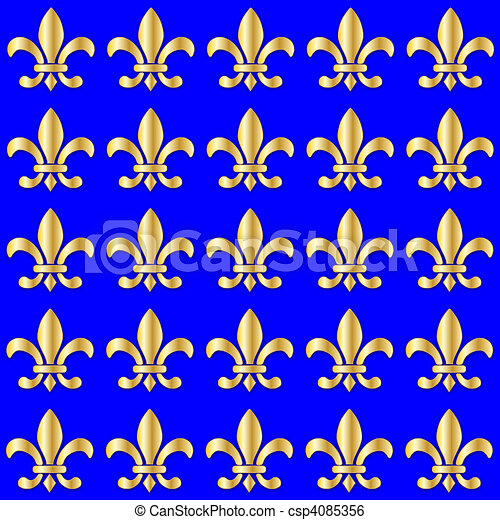 Seamless Fleur de Lis on a blue background - csp4085356