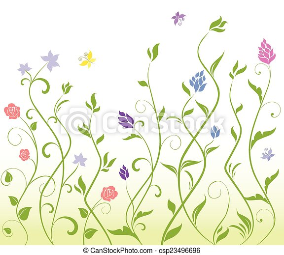 Seamless floral background - csp23496696