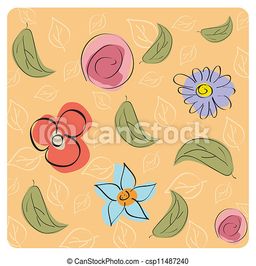 seamless floral background - csp11487240