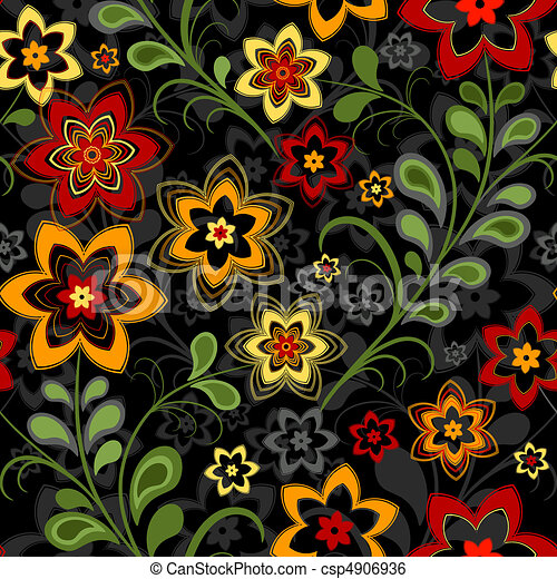Seamless floral black pattern - csp4906936