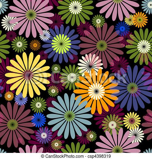 Seamless floral black pattern - csp4398319