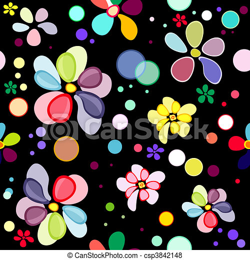 Seamless floral black pattern - csp3842148