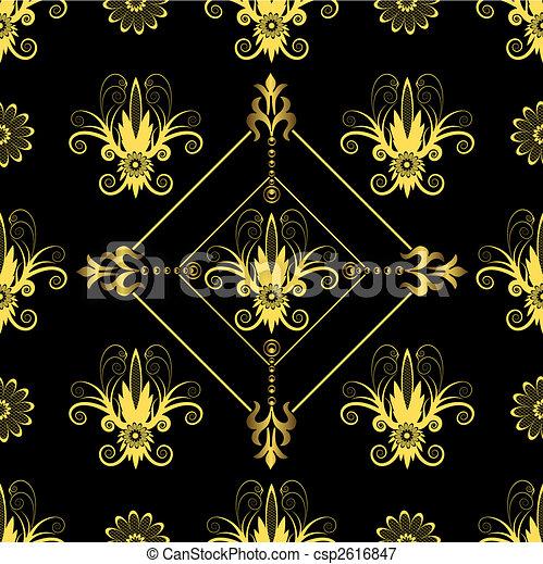 Seamless floral black pattern - csp2616847