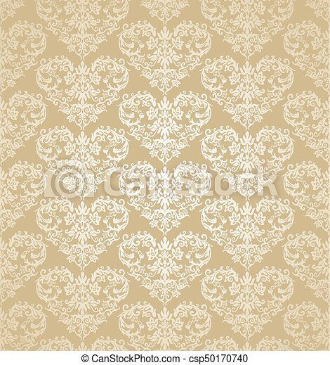 Seamless Floral Gold Heart Shapes Damask Wallpaper