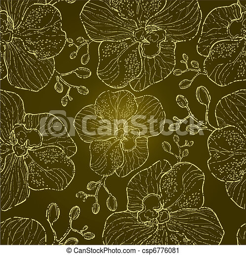 Seamless floral orchid pattern - csp6776081