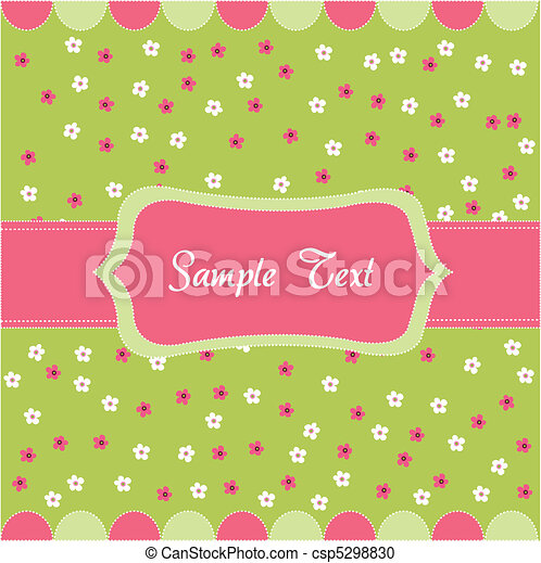 Seamless floral pattern, baby card - csp5298830