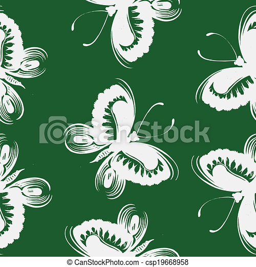 Seamless floral pattern butterfly - csp19668958