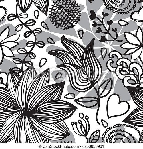 Seamless floral pattern bw csp8656961