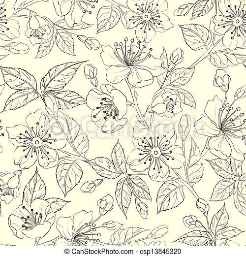 Seamless floral pattern - csp13845320