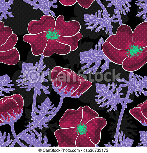 Seamless floral pattern on black background - csp38733173