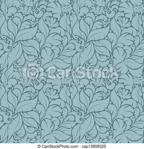 Seamless floral pattern on blue background - csp13808325