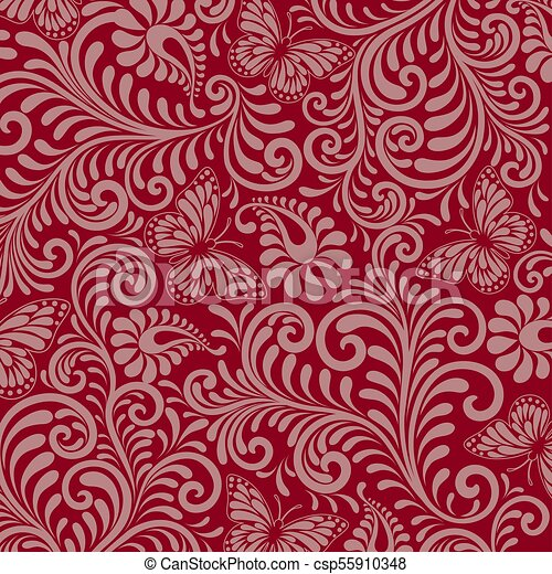 Seamless Floral Pattern on red background - csp55910348