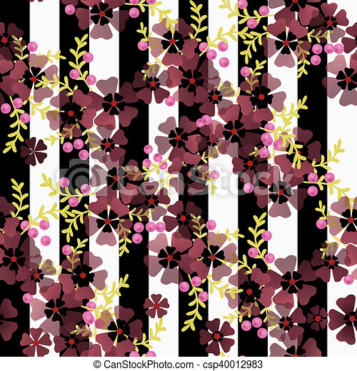 Seamless Floral Pattern On Striped Background Seamless Floral