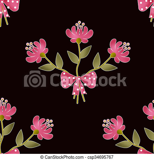 Seamless floral pattern texture on black background - csp34695767