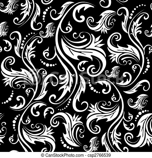 seamless floral pattern vector black and white abstract seamless