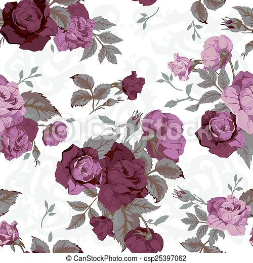 Seamless Floral Pattern With Purple Roses On White Background Watercolor Vector Illustration Decoration Elements