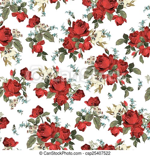 Seamless Floral Pattern With Red Roses On White Background