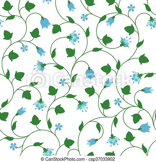 Seamless floral pattern with tiny blue flowers - csp37033902