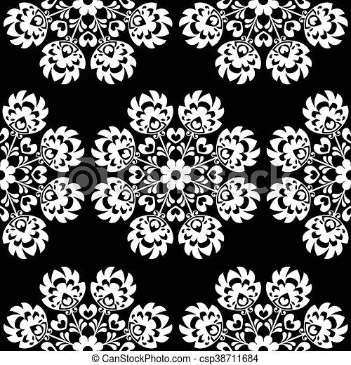 Seamless floral Polish folk pattern - csp38711684